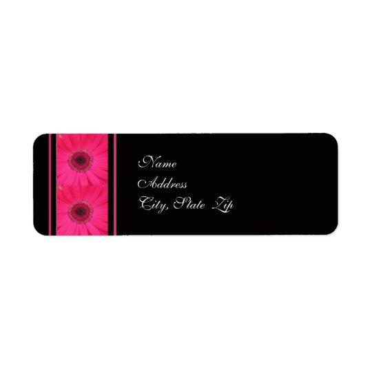 黒い結婚式の宛名ラベルのピンクのガーベラ 返信用宛名ラベル