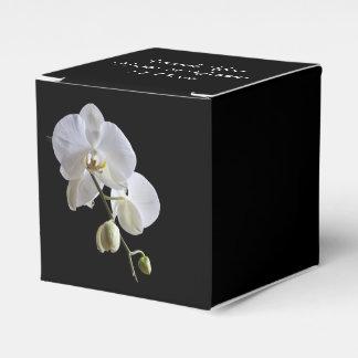 黒い結婚式の引き出物箱の白い蘭 フェイバーボックス