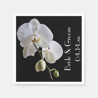 黒い結婚式の白い蘭 スタンダードカクテルナプキン