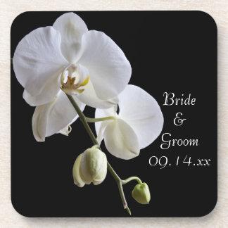 黒い結婚式の白い蘭 ドリンクコースター