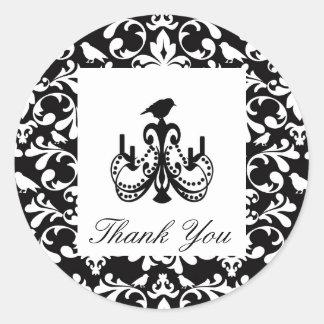 黒い結婚式は鳥のシャンデリアのシール感謝していしています ラウンドシール