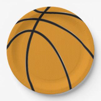 黒い継ぎ目のデザインのオレンジバスケットボール ペーパープレート