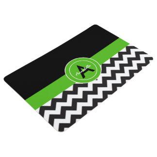 黒い緑のシェブロン フロアマット