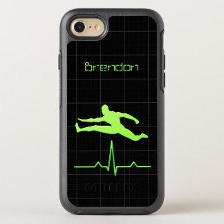 黒い緑のパーソナルトレーナーのフィットネスの人の跳躍 オッターボックスシンメトリーiPhone 8/7 ケース