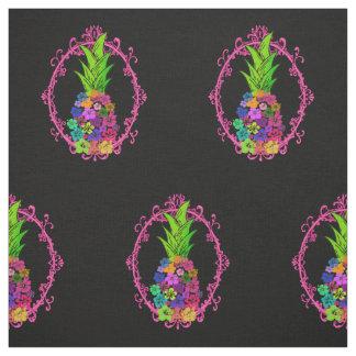 黒い織物のハイビスカスのパイナップル ファブリック