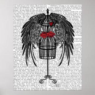 黒い翼が付いているマネキン ポスター