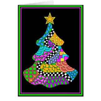 黒い背景が付いているクリスマスのねじれカード カード