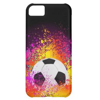 黒い背景が付いているネオンサッカーボール iPhone5Cケース