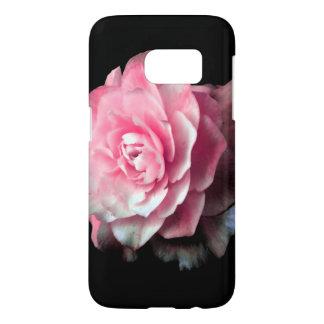 黒い背景が付いているピンクの開花 SAMSUNG GALAXY S7 ケース