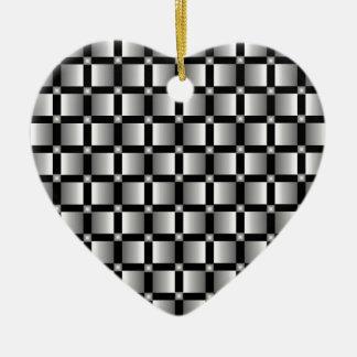 黒い背景が付いている灰色の正方形のパターン セラミックオーナメント