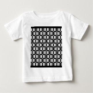 黒い背景が付いている灰色の正方形のパターン ベビーTシャツ