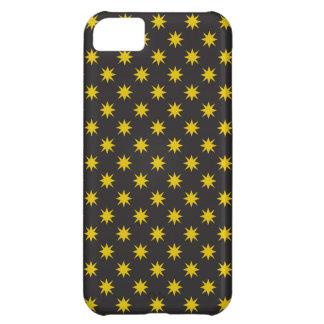 黒い背景が付いている金ゴールドの星 iPhone5Cケース