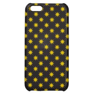 黒い背景が付いている金ゴールドの星 iPhone5C カバー