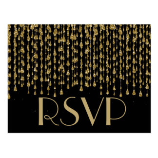 黒い背景が付いているRSVP |の金ゴールドの紙吹雪の流れ ポストカード