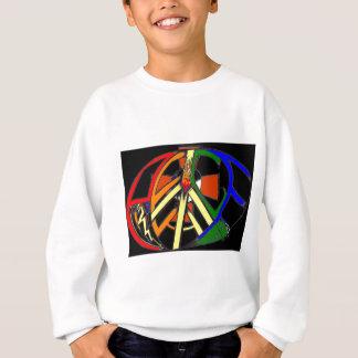 黒い背景との虹の平和楕円形 スウェットシャツ