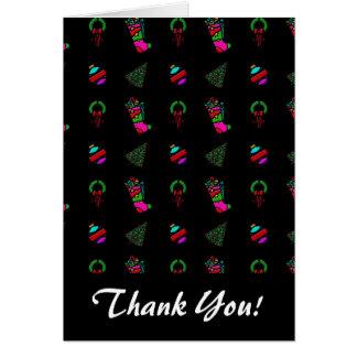 黒い背景のかわいいクリスマスパターン カード