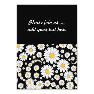 黒い背景のかわいく白いデイジー カード