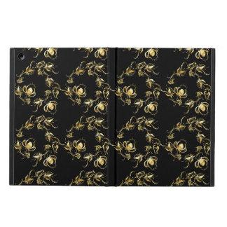 黒い背景のばら色の花パターン iPad AIRケース