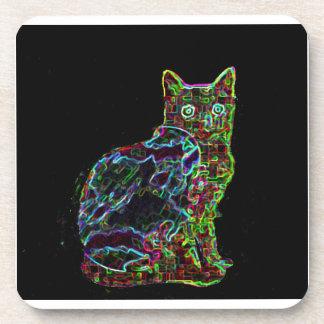 黒い背景のネオン猫 コースター
