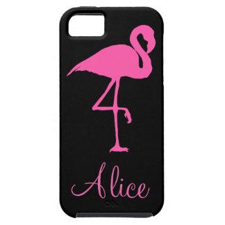 黒い背景のピンクのフラミンゴ iPhone SE/5/5s ケース