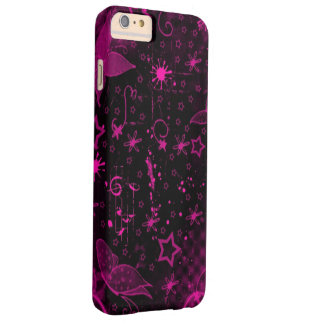 黒い背景のピンクの芸術 BARELY THERE iPhone 6 PLUS ケース
