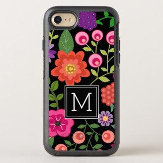 黒い背景のモノグラムが付いているカラフルな花 オッターボックスシンメトリーiPhone 8/7 ケース