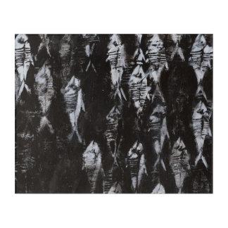 黒い背景の化石の白身魚 アクリルウォールアート