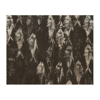 黒い背景の化石の白身魚 ウッドウォールアート