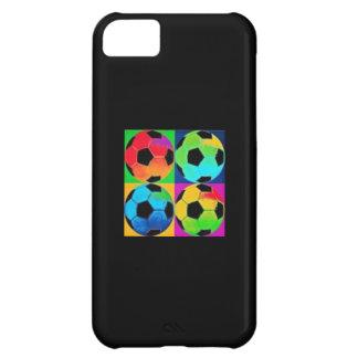 黒い背景の多彩のサッカーボール iPhone5Cケース
