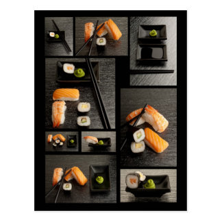 黒い背景の寿司のコレクション ポストカード