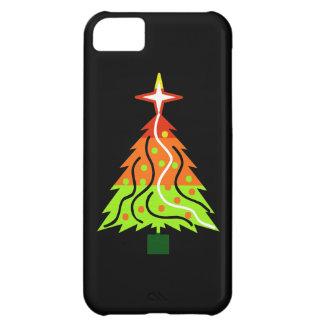 黒い背景の幸せな休日のクリスマスツリー iPhone5Cケース