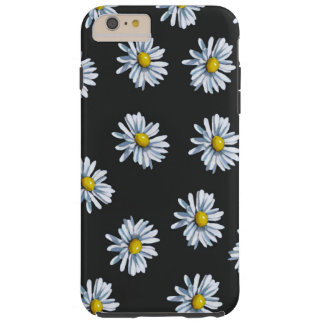 黒い背景の手描きのデイジーの花 TOUGH iPhone 6 PLUS ケース