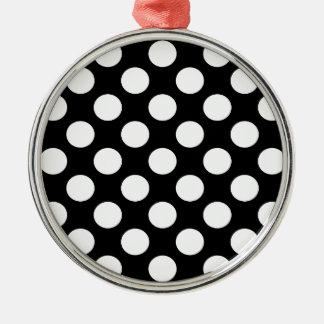黒い背景の水玉模様 メタルオーナメント