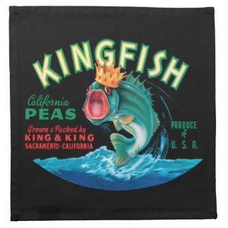 黒い背景の王冠を身に着けている低音の魚 ナプキンクロス