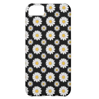 黒い背景の白いデイジー iPhone5Cケース