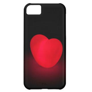 黒い背景の白熱[赤熱]光を放つな愛ハート iPhone5Cケース