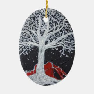 黒い背景の白熱[赤熱]光を放つな生命の樹 セラミックオーナメント