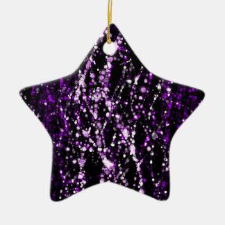 黒い背景の紫色および白い点 セラミックオーナメント