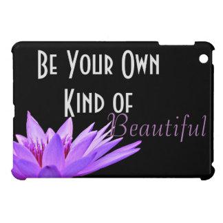 黒い背景の紫色のスイレン iPad MINI カバー