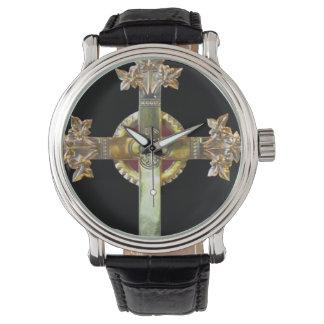 黒い背景の腕時計の金ゴールドの十字 腕時計