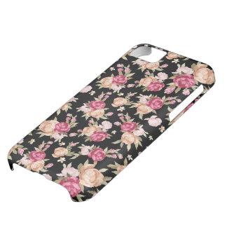 黒い背景の赤そしてモモの調子の花 iPhone5Cケース
