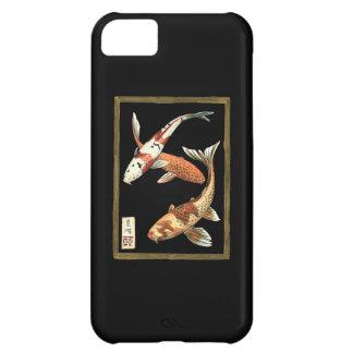 黒い背景の2人の日本人のコイの金魚 iPhone5Cケース