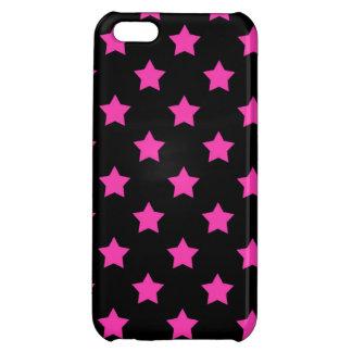 黒い背景パターンのショッキングピンクの星 iPhone5Cカバー
