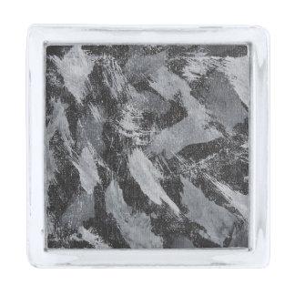 黒い背景#3の白いインク 銀色 ラペルピン