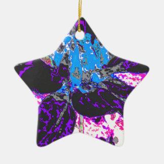 黒い花のダリアの花模様 陶器製星型オーナメント
