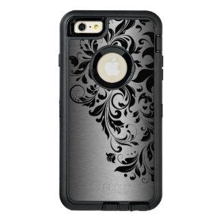 黒い花のレース及び金属灰色の質 オッターボックスディフェンダーiPhoneケース