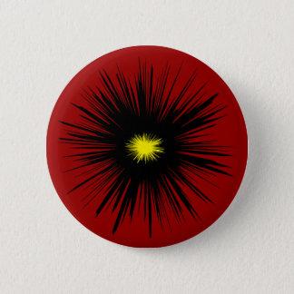 黒い花の抽象芸術 5.7CM 丸型バッジ