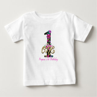 黒い花の金ゴールドのグリッター1つの1人の第1誕生会 ベビーTシャツ