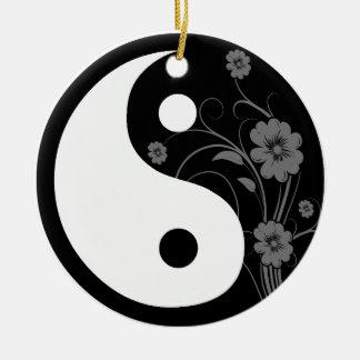 黒い花の陰陽 セラミックオーナメント