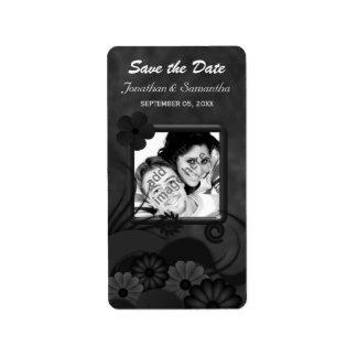 黒い花の黒板のゴシック様式保存日付ラベル 宛名ラベル